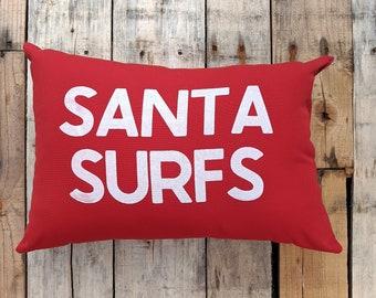 OUTDOOR Santa Surfs Pillow - Coastal Christmas Decor - Beach House Holiday Pillow
