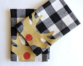 Reindeer Napkins / Buffalo Plaid Christmas Napkins