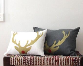 Christmas Pillow - Rudolph Antler Decorative Throw Pillow - Gold and White Antler Christmas Pillow - Xmas Lumbar Throw Pillow