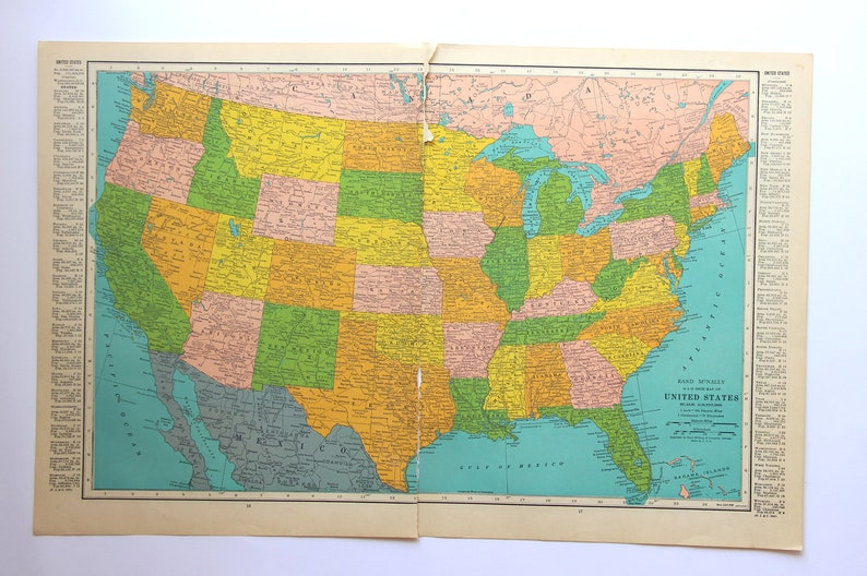 Antique Map Of The United States Vintage Us Map Map Of Us Etsy - Full-page-map-of-us