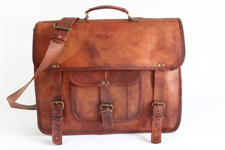 9ab9a609451b 16 Satchel Double Compartment Leather Bag Laptop Bag