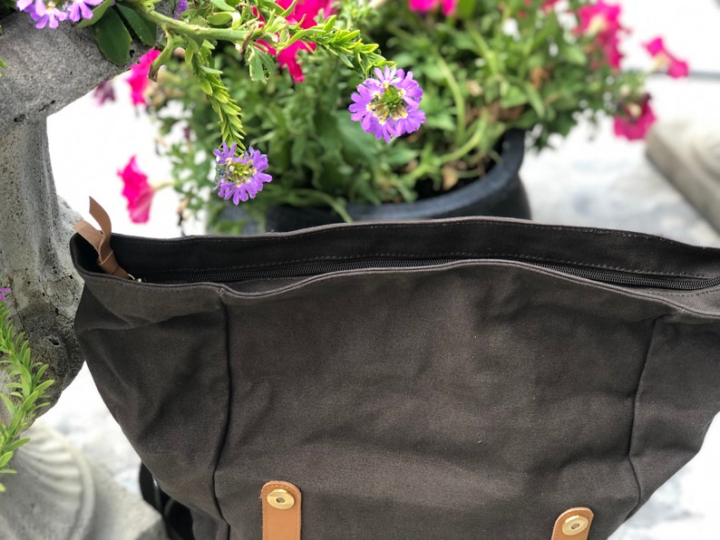 canvas and leather backpack retro, Rollup backpack boho style