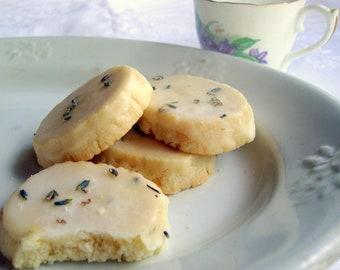 2 Dozen Lavender Shortbread Cookies Without Glaze OR Lavender Glaze