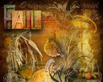 Golden Autumn Digital Collage Greeting Card (Suitable for Framing)