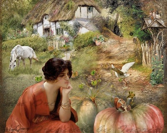 Autumn Past Digital Collage Greeting Card (Suitable for Framing)