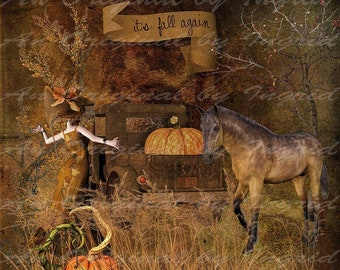 It's Fall  Again Digital Collage Greeting Card (Suitable for Framing)