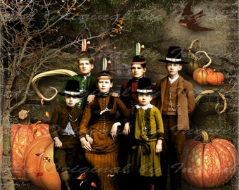 Little Pilgrims Digital Collage Greeting Card (Suitable for Framing)