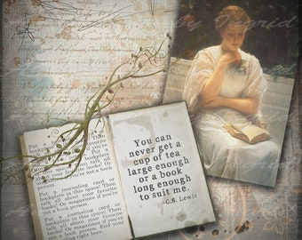 Bookish Digital Collage Greeting Card (Suitable for Framing)