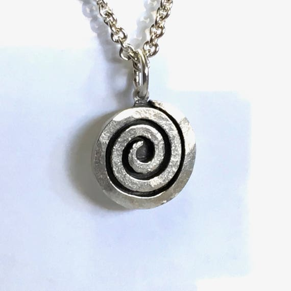 "Recycled Sterling Silver CELTIC Swirl/Scroll Pendant and 23"" Substantial Cable Chain w/ Lobster Claw Clasp"