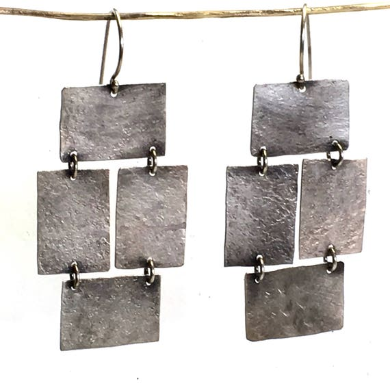 Dad's Hammer Sterling Silver Textured+Antiqued+Recycled Panel Earrings