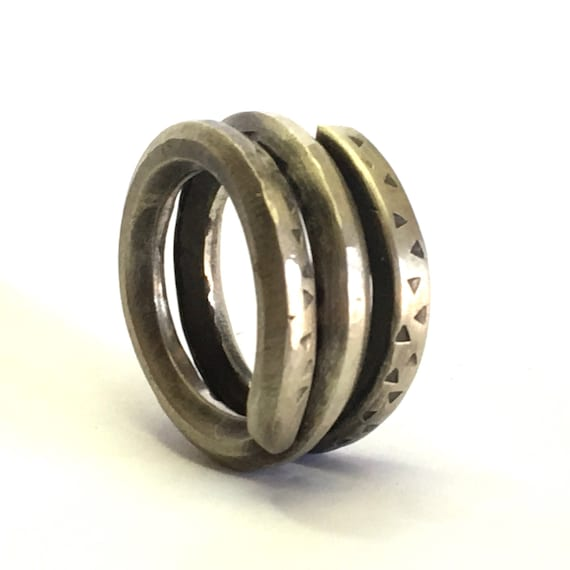 Sterling Silver Forged Men's Coil Ring