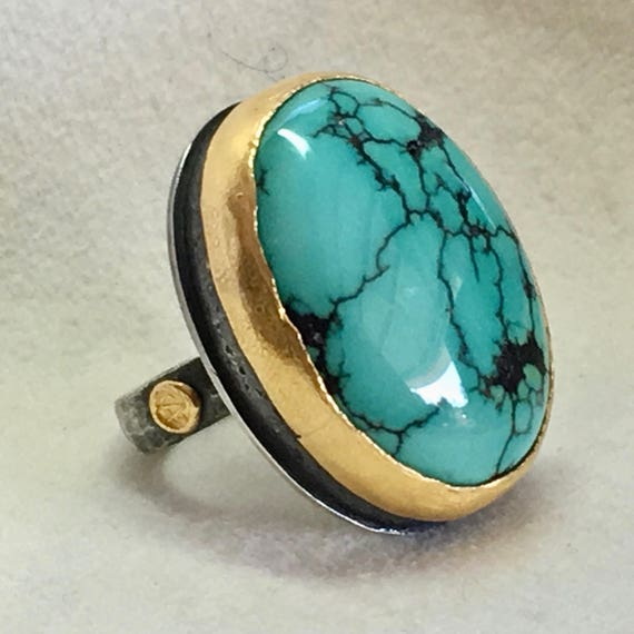 Turquoise Statement Ring in Textured 24k Gold & Black Sterling Silver