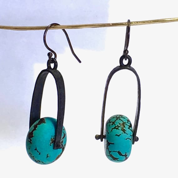 Recycled Sterling Silver Textured & Blackened Stirrup Earrings with Vintage Turquoise Rondelles