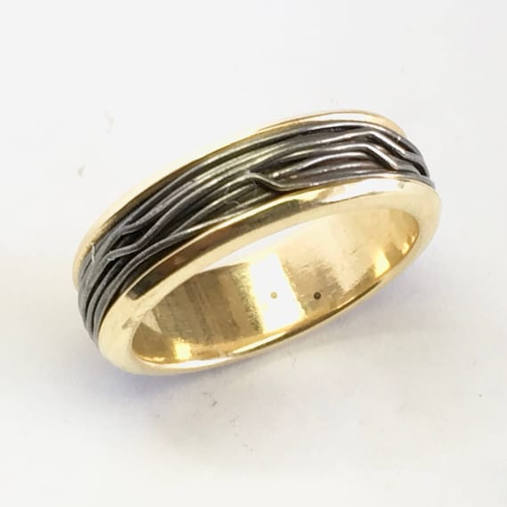 Wrapped Iron Wire & 18k Recycled Gold Band