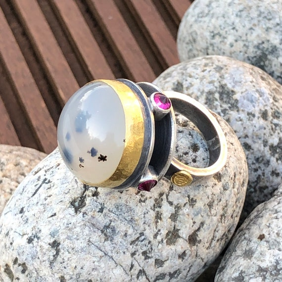 Hover Ring w/Round Moss Agate & Red Ruby Synthetic Points in Textured Sterling Silver/24kt Solid Gold Bezel