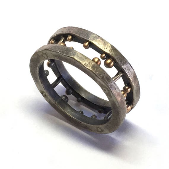 Sterling Silver & 22k Gold Stalagtite/Mite Band