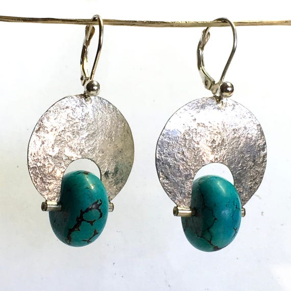 Fun Turquoise Rondelle Textured Sterling Silver Earrings by Craig A. Boisvert