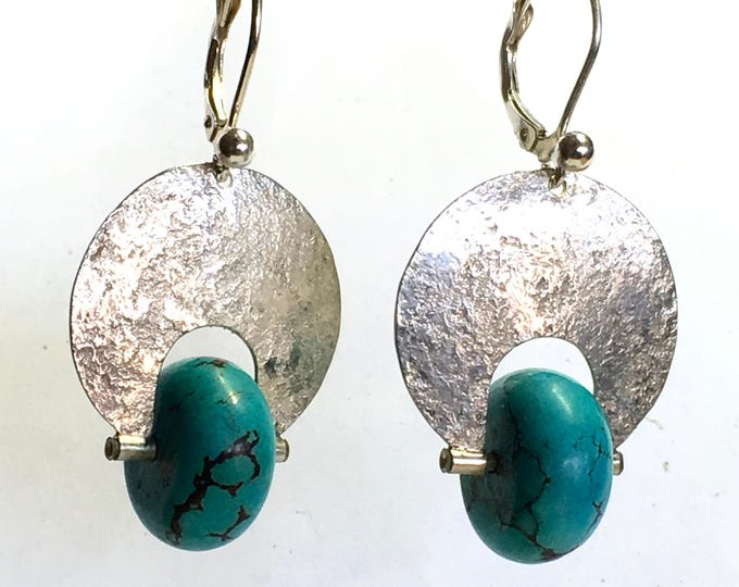 Featured listing image: Fun Turquoise Rondelle Textured Sterling Silver Earrings by Craig A. Boisvert