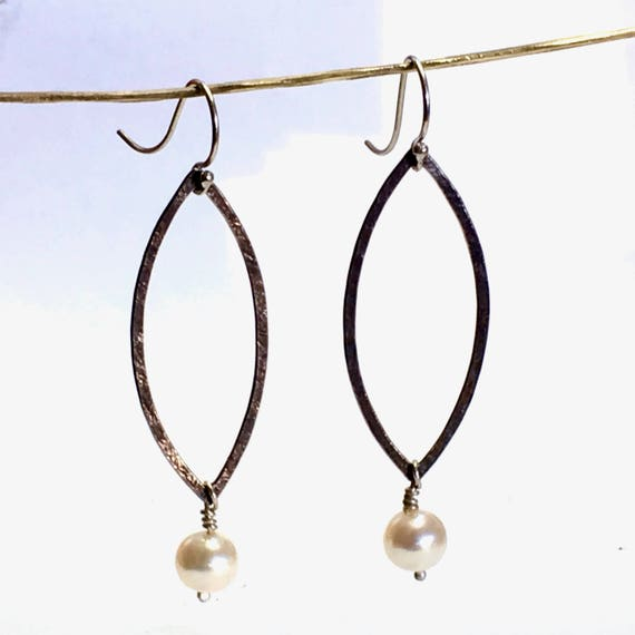 Sterling Silver ( Textured & Recycled ) Open Marquise Hoop Earrings with Freshwater Pearl Dangles