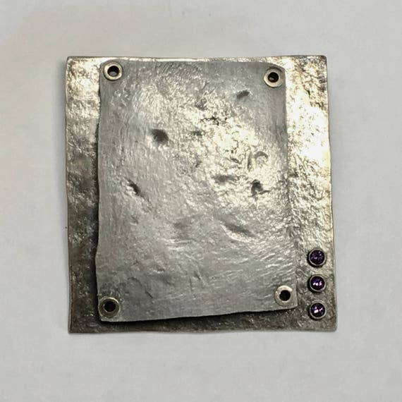 Abstract Brooch in Sterling Silver and Slumped Aluminum w/Bezel Set Amethysts