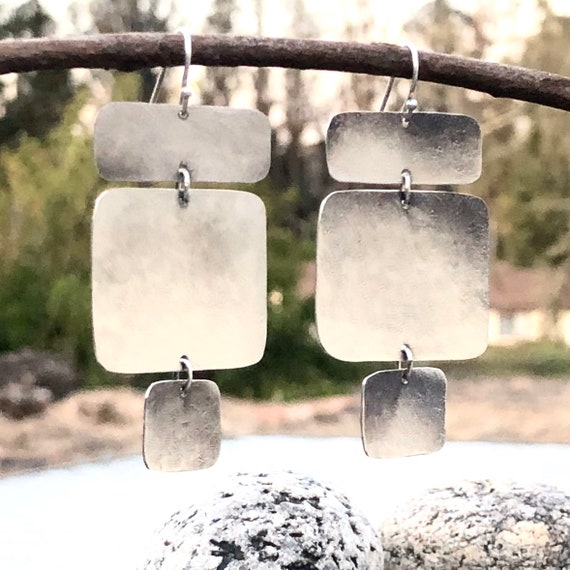 Sterling Silver Textured Panel Dangle Earrings