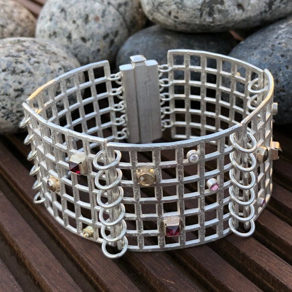 Grid Bracelet in Sterling Silver w/ 14kt Gold Bezels, Diamonds, Garnets, Spinels & Sapphires