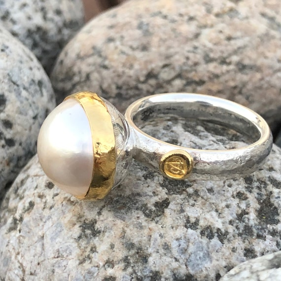 Mabé Pearl Stacking Ring 24kt Solid Gold Bezel & Sterling Silver