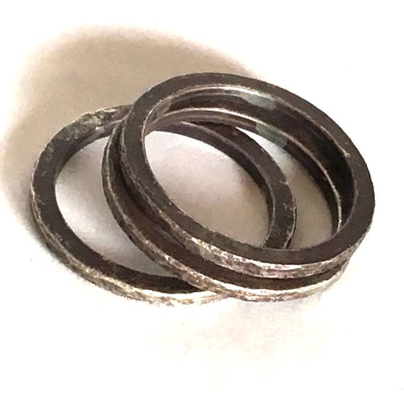 Three Blackend Sterling Silver Bands Textured Size 7.25   Use them for stacking or as spacers in your stack!