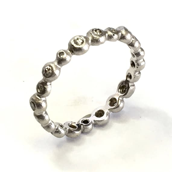 Diamond .32ctw Bubble Band in 14k White Gold for Stacking or all by itself! Rhodium Textured Finish in size 6-3/4