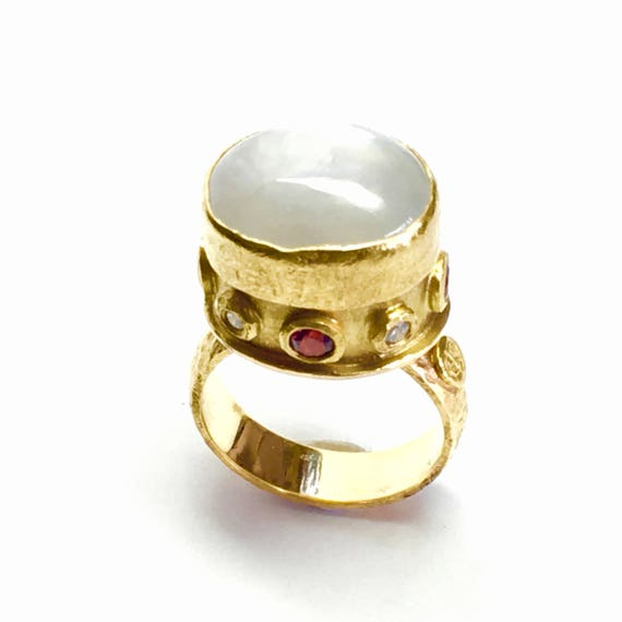 Gray Star Sapphire, Red Natural Spinel and Diamond ARTiFACTORY Byzantine Inspired 18k/24k Ring