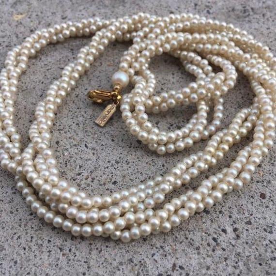 Vintage Marvella Pearl Necklace, Triple Strand Nec