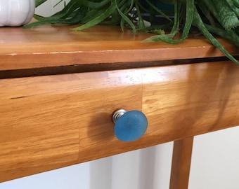 Aqua blue seaglass inspired cabinet pull knob (one), Tumbled glass. cabinet knob beach decor, update home office.