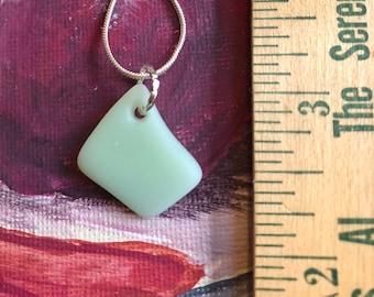 Sea Glass inspried Jadeite green fire king depression glass pendant  jadite jewelry