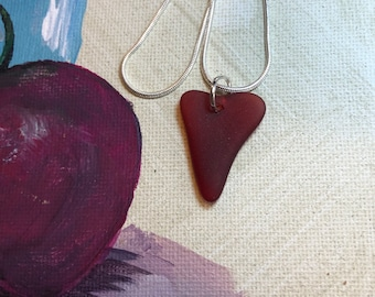 Heart shaped dark red cultured seaglass pendant, beach glass inspired vintage glass.  sea glass heart necklace.