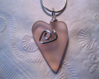 Small Heart Pendant seaglass inspired made of antique pink depression glass.