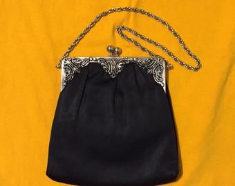 Sac de soirée noir Vintage Glamour des années 70!  Vraiment très beau