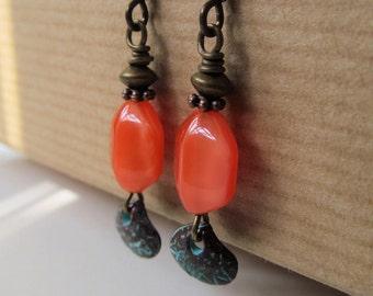 Orange with Seashell Beaded Niobium Earrings - Beach Sunset