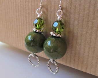 Olive Green Polymer Clay and Swarovski Crystal Beaded Sterling Silver Earrings - BeadedTail -