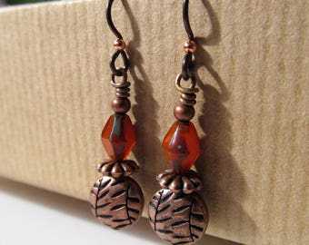 Orange Czech Glass with Leaf Accented Beaded Niobium Earrings - BeadedTail - Fall - Colors of Fall - Autumn