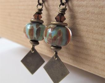 Turquoise and Brown Animal Print Lampwork Glass Niobium Earrings - Wildlife - BeadedTail