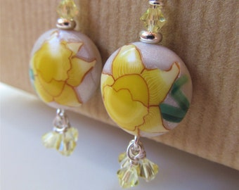 Yellow Daffodil Polymer Clay and Swarovski Crystal Beaded Sterling Silver Earrings - BeadedTail - Spring Flowers