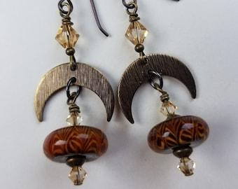 Brown Animal Print Lampwork Glass Niobium Earrings - To The Moon and Back - BeadedTail