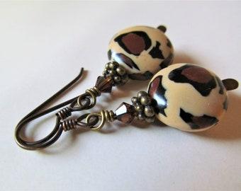 Leopard Print Polymer Clay and Swarovski Crystal Beaded Niobium Earrings - BeadedTail - Wild Safari - Animal