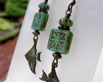 Angel Fish and Seafoam Green Czech Glass and Crystal Niobium Earrings