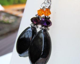 Orange Purple and Black Czech Glass Beaded Sterling Silver Earrings