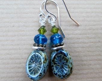 Green and Tropical Blue Czech Glass Beaded Sterling Silver Earrings - Earth and Sky