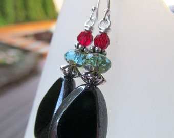 Red, Turquoise and Black Czech Glass Beaded Sterling Silver Earrings - Little Black Southwest