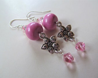 Pink Polymer Clay and Swarovski Crystal Beaded Sterling Silver Earrings - BeadedTail - Flower Garden