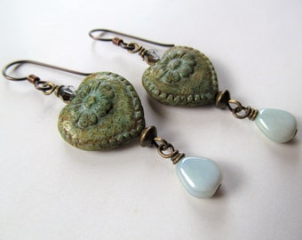 Green with a Touch of Blue Czech Glass Heart with Flowers and and Dangling Teardrop Beads Niobium Earrings - Romantic - BeadedTail