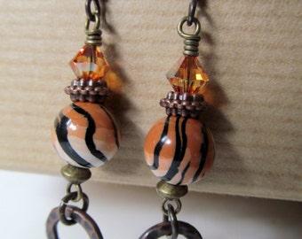 Orange and Black Tiger Striped Polymer Clay and Chili Pepper Swarovski Crystal Niobium Earrings - Wild